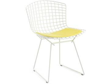 Knoll International Bertoia Side Stuhl - Rilsanbeschichtung weiß - Vinyl gelb