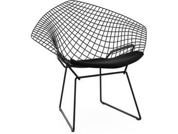 Knoll International Fauteuil Bertoia Diamond  - Ultrasuede - noir - Rilsan revêtement noir