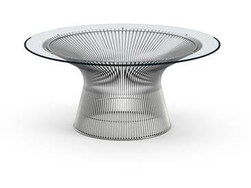Knoll International Table basse Platner  - Ø 91,5 cm - Nickel poli - Verre cristal