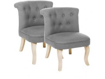 Lot de 2 fauteuils effet Lin Calixte Gris Petit Modèle