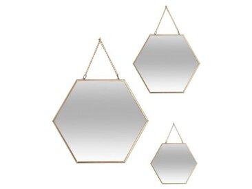 Lot de 3 miroirs Hexa Or