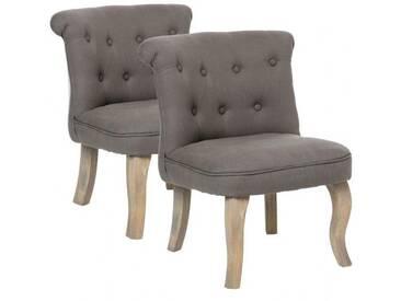 Lot de 2 fauteuils effet Lin Calixte Taupe Petit Modèle
