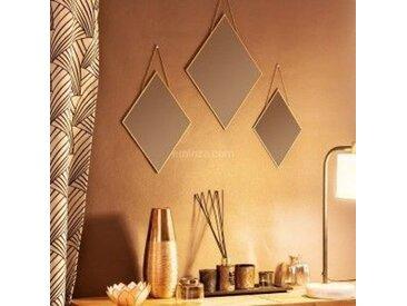 Lot de 3 miroirs Losange Or