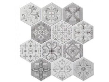 Lot de 6 planches stickers relief Caro Gris et Blanc