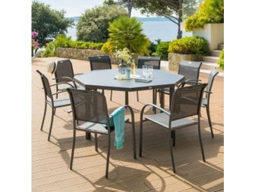 Table de jardin Aluminium Piazza octogonale - Gris graphite