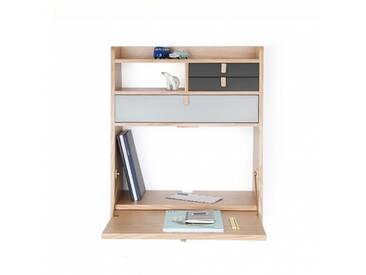 GASTON - secrétaire chêne tiroir gris clair et ardoise - Materiaux - chêne naturel