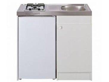 oskab Kitchenette gaz Meuble sous évier blanc Avec Réfrigérateur L100 x H93 x P60 cm