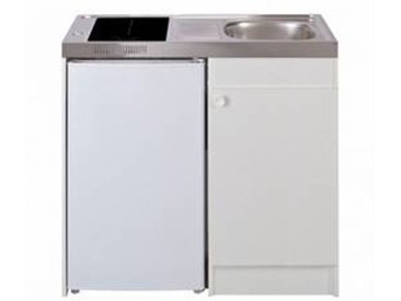 oskab Kitchenette vitrocéramique 4 sécurités Meuble sous évier blanc Avec Réfrigérateur L100 x H93 x P60 cm