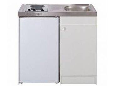 oskab Kitchenette électrique avec minuteur Meuble sous évier blanc Avec Réfrigérateur L100 x H93 x P60 cm