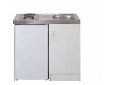 oskab Kitchenette électrique Meuble sous évier blanc Avec Réfrigérateur L100 x H93 x P60 cm
