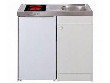 oskab Kitchenette vitrocéramique Meuble sous évier blanc Avec Réfrigérateur L100 x H93 x P60 cm