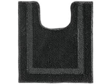InterDesign Spa tapis toilettes, tapis contour WC antidérapant en polyester microfibre, noir