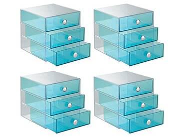 InterDesign Drawers organisateur maquillage, boite de rangement plastique cosmétiques, maquillage, boite tiroir à 3 tiroirs en lot de 4, bleu aqua