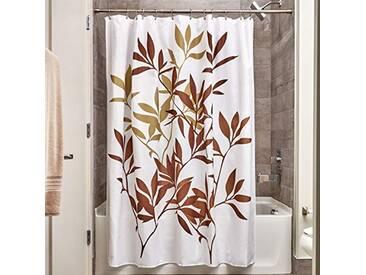 InterDesign Leaves rideau de douche, rideau baignoire design 183,0 cm x 183,0 cm en polyester, rideau bain chic avec motif de feuilles, brun