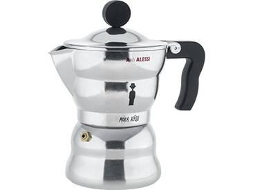 A di ALESSI Aam33/3 Moka Alessi Cafetière Espresso en Fonte Daluminium, Poignée et Pommeau en Résine Thermoplastique, Noir, 3 Tasse