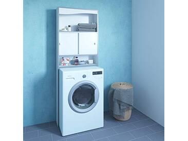 Meuble WC-Machine à laver-Blanc-Chants gris/6091A7321M17