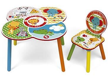 Fisher-Price FP10000 Ensemble de Table et Chaise, Bois, Blanc/Jaune, 52x60x60 cm