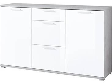 Buffet Germania 3441-523 GW-Almeria en Béton-optique/Blanc, 144 x 87 x 40 cm (LxHxP)