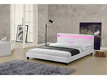 Le Valentin Blanc : Cadre de lit LED en simili et sommier 140 x 190 cm