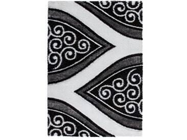 Lalee 347254125 élégante et haute qualité tapis de créateur shaggy avec lurex effet 3D, Polyester, argent, 80 x 150 cm