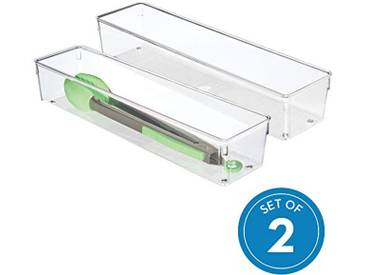 InterDesign 53030M2EU Tiroir de Cuisine Linus pour Couverts, spatules, Objets Divers - Pack de 2, 10,16 x 40,64 x 7,62 cm, Transparent Plastique