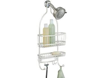 InterDesign York Lyra étagère de douche avec 2 paniers et 4 crochets, serviteur de douche en métal sans perçage à suspendre, blanc nacré