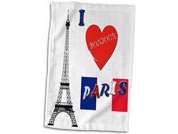 3dRose I Love Paris/France/Français Drapeau/Populaire Dicton Serviette, Blanc, 15x 55,9cm