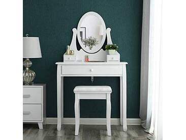 SONGMICS Coiffeuse-Table de Maquillage avec Miroir et Tabouret Blanc 137 x 80 x 40 cm RDT002