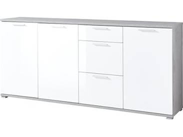 Germania Bahut Long 3442-523 GW-Almeria en Béton-Optique/Blanc, 192 x 87 x 40 cm (LxHxP)