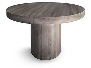 Menzzo Suzie Table Ronde Extensible, Bois, Vintage, 260 x 110 x 76 cm