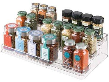 InterDesign Linus étagère à épices, support à épices extensible en plastique pour l'armoire de cuisine, étagère de rangement à 3 niveaux, transparent