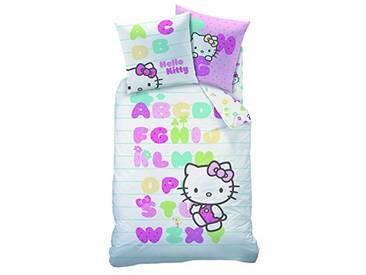 CTI Housse DE Couette 140X200 ET 1 TAIE 63X63 Hello Kitty ABECEDAIRE 100% Coton, Multicolore