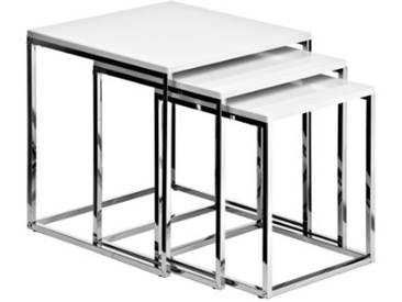Premier Housewares Tables gigognes Structure chromée Blanc brillant Lot de 3 42 x 40 x 40 cm