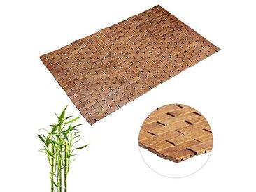 Relaxdays Tapis en Bambou Enroulable Anti-Glisse Hygiénique Résistant Humidité Sortie de Bain, 50x80cm, Marron