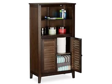 Relaxdays 10020922  Armoire de salle de bain sur pied LAMELL en bambou marron foncé meuble de rangement cuisine HxlxP: 92 x 50 x 25,5 cm
