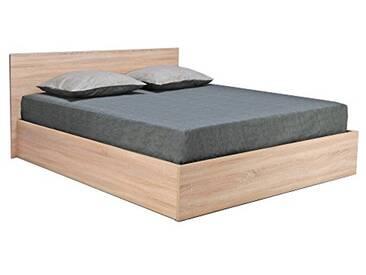Weber Industries 035860Z Madrid Lit Coffre avec Tête de Lit et Sommier à Latte Bois Chêne Blanc 160 x 200 cm