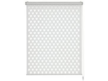 GARDINIA Store Double Enrouleur à clipser ou à coller - Store double enrouleur / Store avec enrouleur latéral - Transparent et opaque - Kit de montage inclus - Triangle découpé - Blanc - 100 x 150 cm (LxH)