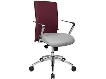 Topstar Chaise de Bureau Commander avec accoudoirs R2, Tissu, Hellgrau-bordeauxrot, 55.0 x 56.0 x 111.0 cm