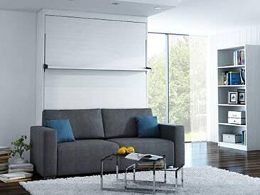 ESF LEGGIO-STD-03 Leggio STD Lit Escamotable LEDs, Panneaux Bois : 36mm, Coffre Blanc, Canapé Gris, Coussins déco Bleu (x2), 191cmx121cmx237cm