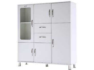 TENZO Malibu Grand vaisselier, Panneaux de Particules & MDF, Blanc, 144 x 44 x 159 cm