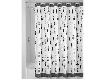 InterDesign SophistiCat rideau douche, rand rideau baignoire design 180,0 cm x 200,0 cm en polyester, rideau de bain avec motif de chat, noir/blanc