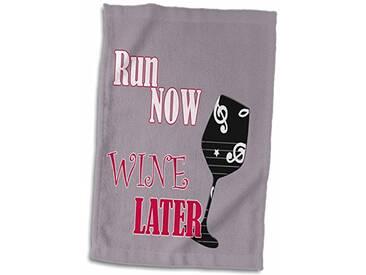 3dRose Run Now Wine Plus Tard/Gym/Sport/entraînement/Populaire Dicton Serviette, Blanc, 15x 55,9cm