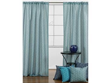 LJ Home Fashions Interiors géométrique zigzag 2pièces Canne à pêche Poche Paire de rideaux, 132x 241cm, Bleu sarcelle/blanc