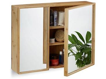 Relaxdays 10021883  Armoire de salle de bain miroir 2 portes armoire de toilette en bambou HxlxP: 50 x 65 x 14 cm, nature