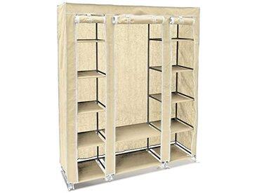 Relaxdays 10018857_127 Armoire en tissu pliante 175,5 x 148 x 43 cm penderie pliable 12 étagères avec tringle à vêtements 12 niveaux compartiments beige
