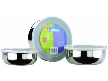 Ibili 712000 Lot de 3 Boîtes alimentaires en Inox avec couvercle en plastique (14+16+18 cm)