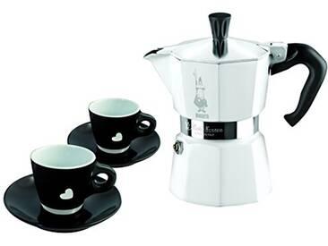 Bialetti 0004980 Moka Chic Coffret Cafetière Italienne 3 Tasses + 2 Tasses Noir