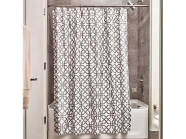 InterDesign Trellis rideau de douche textile, 183,0 cm x 183,0 cm rideau douche et baignoire en polyester, cloison douche à motif treillis, gris