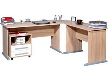 Germania Combinaison de bureau dangle avec conteneur roulant 0495-157 coloris Chêne sonoma-repro/Blanc,  l/h/p env. 140/75/70 cm