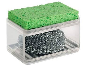 InterDesign Forma porte-éponge, rangement cuisine 2 étages plastique et acier inoxydable brossé pour éponge & grattoir vaisselle, transparent/argenté